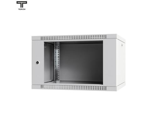 """Шкаф 6U телекоммуникационный настенный 19"""" дверь стеклянная"""