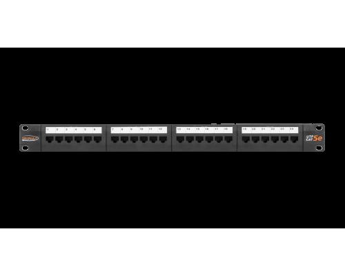 """Патч-панель NIKOMAX 19"""" кат.5e 1U 24 порта RJ45, с органайзером, черная"""